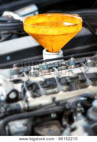 Yellow Plastic Funnel For Motor Oil