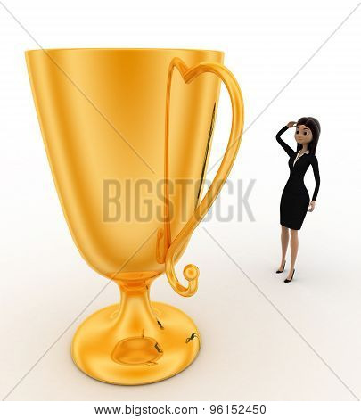 3D Woman Thinking About Big Golden Cup Award Concept