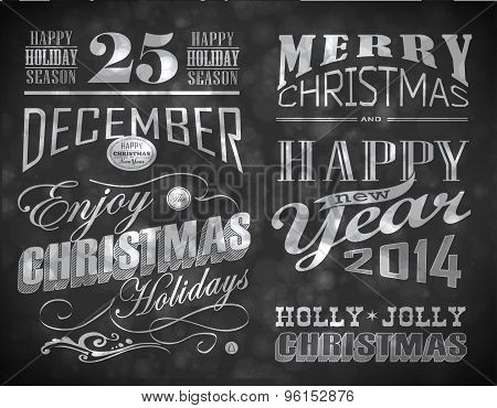 Christmas and Happy New Year typography
