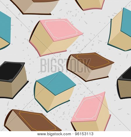 Old Big Book Seamless Pattern. Vector Background Of Book