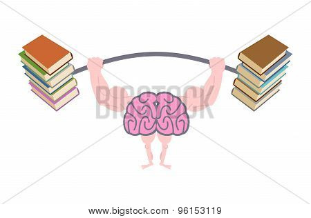 Pumping Up Brains. Strong Brain With Big Muscles Are Engaged In Post From Book. Fitness Fo Mind. Br