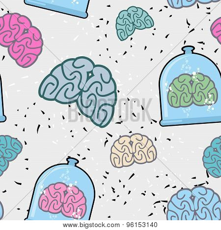Laboratory Of  Pitcher And  Human Brain In A Jar Seamless Pattern. Glassware For Scientific Experime