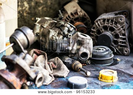 Old Discarded Motor Vehicle Components