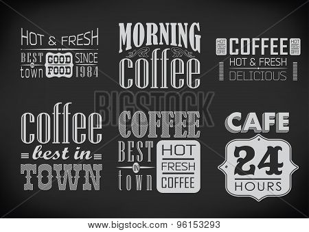 set of coffee labels on chalkboard