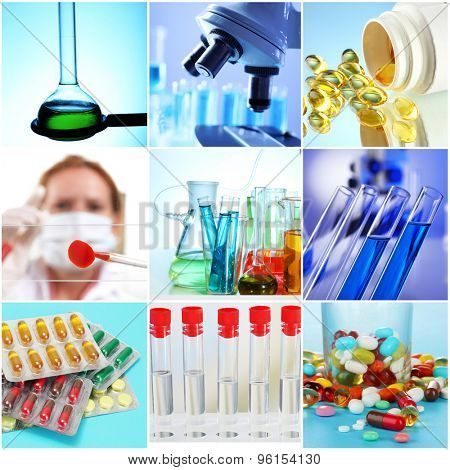 Collage of scientific elements in laboratory