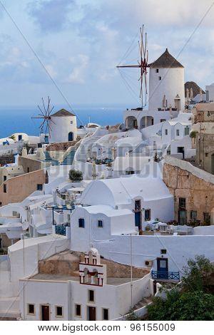 view of oia town in santorini greece