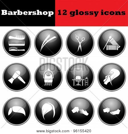 Set Of Barbershop Glossy Icons
