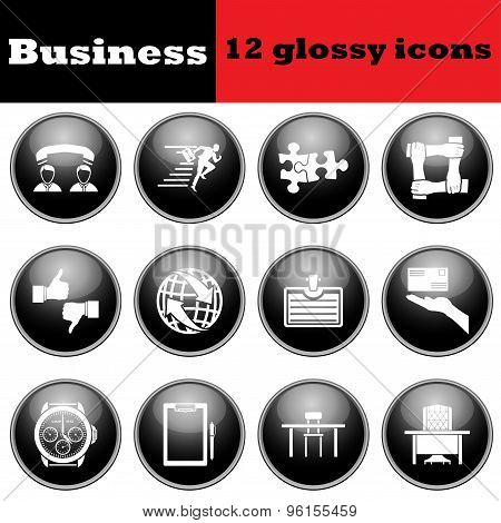 Set Of Business Glossy Icon