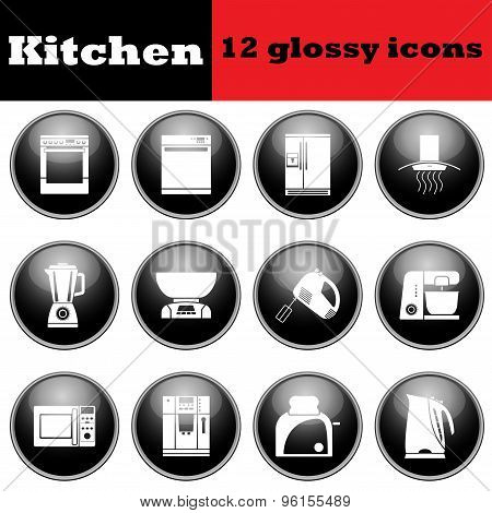 Set Of Glossy Kitchen Equipment Glossy Icons