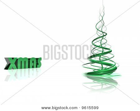 Abstract Green Christmas Tree Over White