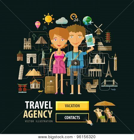 Travel agency vector logo design template. Vacation, holiday or journey, rest icons