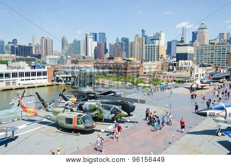 New York, United States - July 10, 2015:Intrepid Museum overview with city on a background