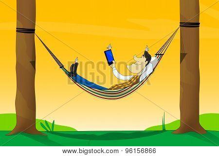 A vector illustration of  man using tablet