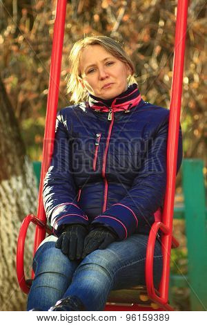 Woman Going For A Drive On The Swing