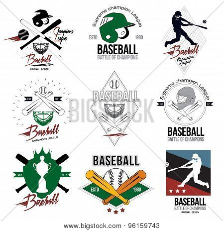 A set of logos, labels and design elements of baseball.