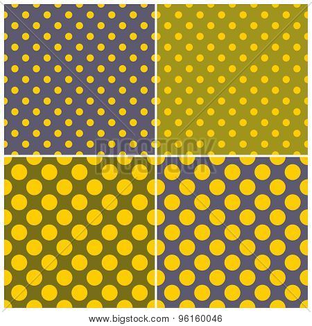 Tile vector pattern set with yellow and green polka dots on green and navy blue background