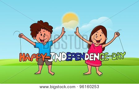 Cute little kids holding national flag color text Happy Independence Day on cloudy nature background.