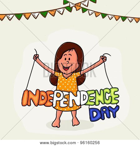 Cute little girl holding national tricolor text Independence Day on bunting decorated background.