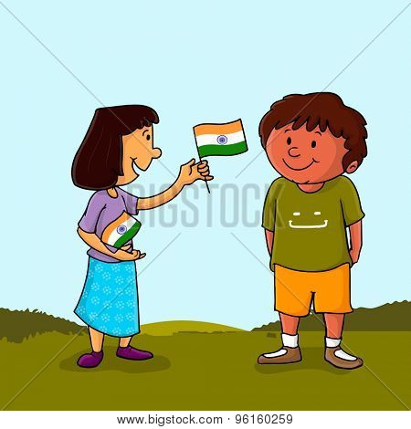 Cute little girl giving Indian National Flag to a boy on nature background on occasion of Independence Day celebration.