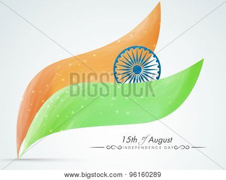 National flag color glossy waves with Ashoka Wheel on grey background for Indian Independence Day celebration.