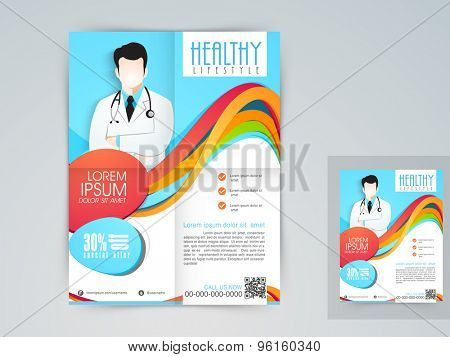 Medical flyer, banner, template or brochure with 30% discount offer.