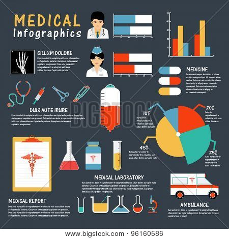 A big set of medical infographic elements with statistical graphs, charts and different medical supplies.