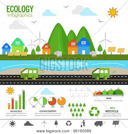 View of green urban city with various statistical infographic charts and graphs for Ecology concept.