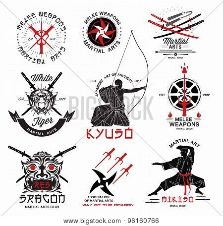 Set of martial arts, Japanese samurai weapons logo, emblems and design elements.