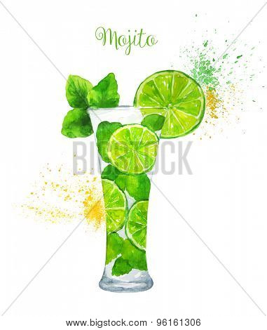 Watercolor Mojito Cocktail on the White Background. Vector Illustration.