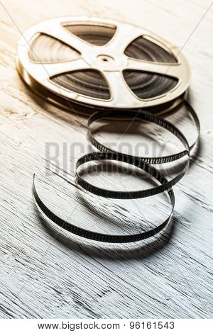 Film vintage roll placed on wooden table