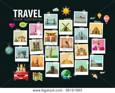 Travel, vacation vector logo design template. photograph or historic architecture of the world icons