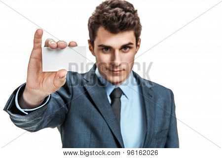 Businessman Reach Out On Camera And Show Credit Card Or Visiting Card