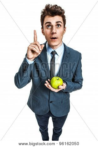 Young Adult With Green Apple In His Hand, Healthy Food For Thought