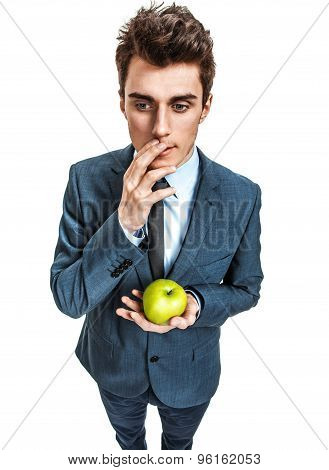 Thoughtful Man With Green Apple In His Hand, Food For Thought