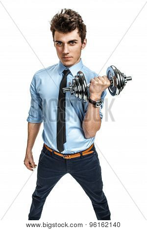 Strong Businessman Holding A Dumbbell