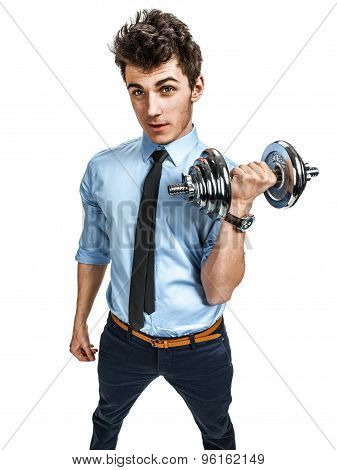 Handsome Businessman Exercising With Dumbbell