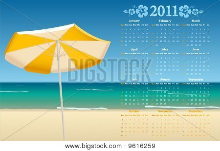 Vector Calendar 2011 With Tropic Beach