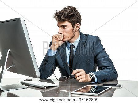 Unhappy Entrepreneur Dissatisfied With His Profit, Income, Earnings, Gain, Benefit, Margin