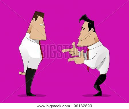 illustration of cartoon laughing businessman