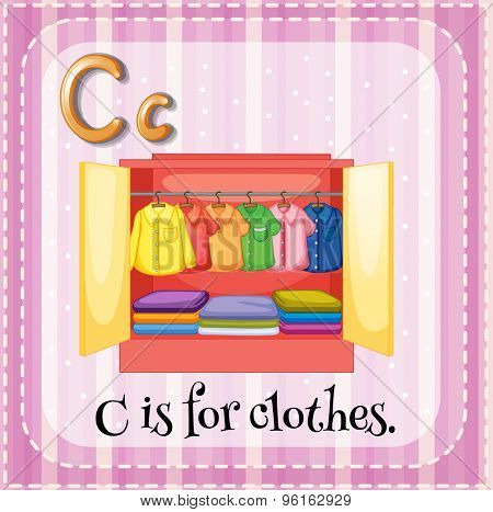 Flashcard letter C is for clothes