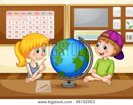 Boy and girl in geography class