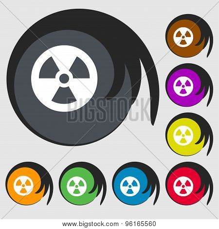 Radiation Icon Sign. Symbol On Eight Colored Buttons. Vector