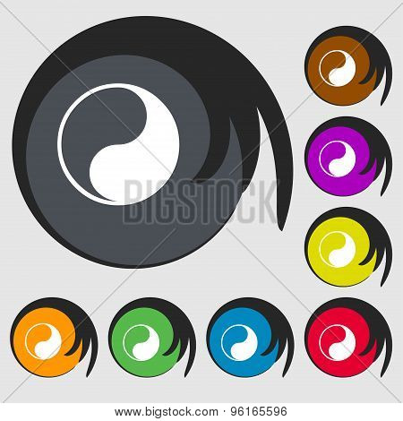 Yin Yang Icon Sign. Symbol On Eight Colored Buttons. Vector