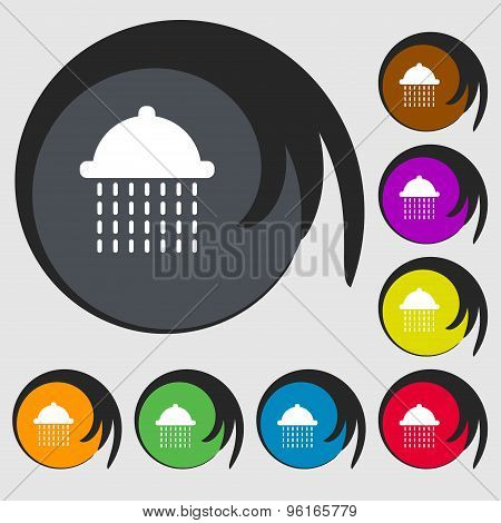 Shower Icon Sign. Symbol On Eight Colored Buttons. Vector