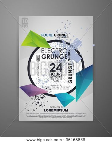 geometric  grunge background for party. Vector template poster with watercolor paint abstract background. Grunge banner with an inky dribble strip with copy space. Abstract background for party.