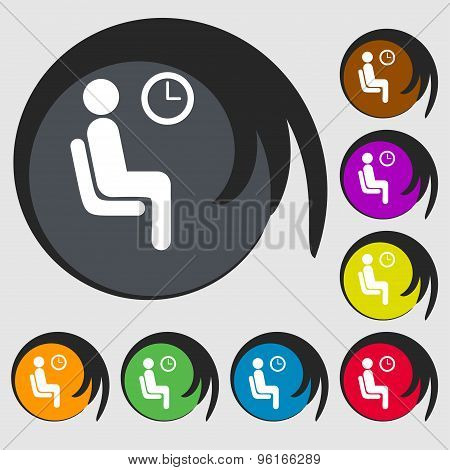 Waiting Icon Sign. Symbol On Eight Colored Buttons. Vector