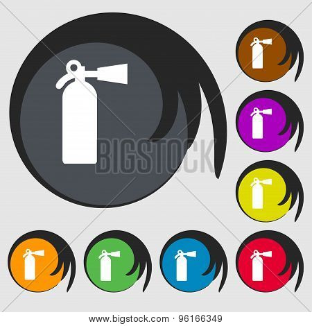 Extinguisher Icon Sign. Symbol On Eight Colored Buttons. Vector