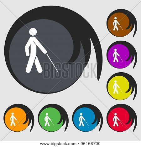 Blind Icon Sign. Symbol On Eight Colored Buttons. Vector