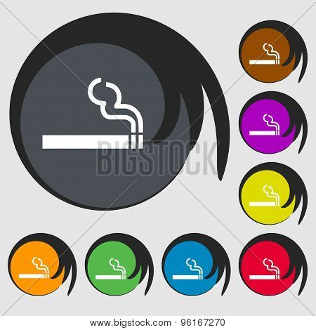 Cigarette Smoke Icon Sign. Symbol On Eight Colored Buttons. Vector
