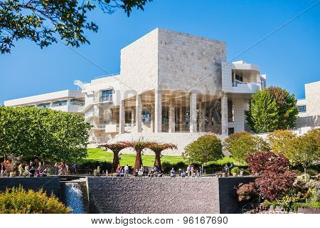 LOS ANGELES, USA - JUNE, 2015: The Central Garden at the Getty Center on a sunny day. Usa